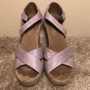 TOMS Cork Wedges with Lavender Straps